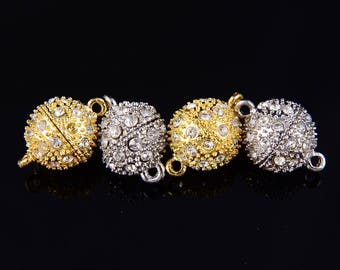 Silver/ Gold Color Plated Strong Magnetic Rhinestone Clasp Clasps Round Shape Size 8mm/10mm/12mm. Sale by Bag CLASP-001V-01