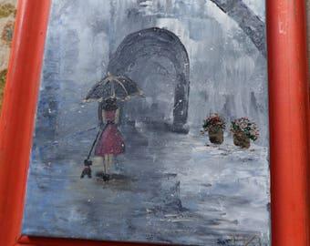 Umbrella Painting, Paris Street Art, Lady Walking Her Dog, Paris Art, Parisian Woman, Impressionistic Art, French Decor, Bedroom Decor,