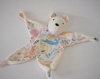 Personalised Teddy Bear Comforter, Baby Shower Gift Girl /Boy present baby taggie crib toy handmade newborn toy soother hospital bag