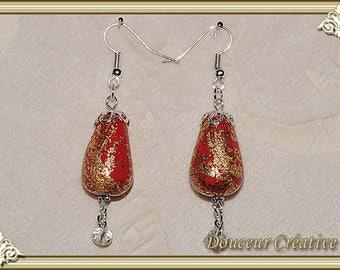 Earrings red gold 104026