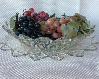 "Vintage Federal Glass Bowl 10""dia petal-clear pattern 1960 salad bowl or berry bowls"