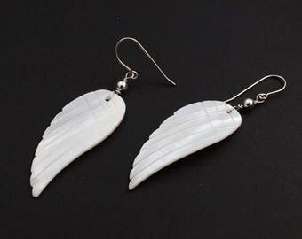 Angel's wings Mother Of Pearl, Sterling Silver Earrings