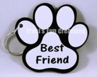 Paw Print Acrylic Keychain, Key Chain, Keychain, Custom KeyChain, Dog KeyChain, Paw Keychain, Personalized Keychain