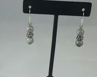Gray and silver earrings