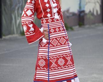 Vyshyvanka Ukrainian embroidered linen red blouse and skirt vyshyvanka boho style. Mexican blouse and skirt. Set or single item.