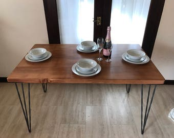 Handmade scaffold board dining table on hairpin legs