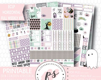 Hey Boo! Halloween Full Weekly Kit Printable Planner Stickers | JPG/PDF/Silhouette Cut Files | For Use with Erin Condren ECLP Horizontal