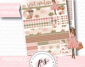 Hello Fall (Dark Skin Tone) September 2017 Monthly View Kit Printable Planner Stickers (for Happy Planner) | JPG/PDF/Cut File
