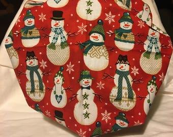 Snowmen printed bouffanr style scrub cap