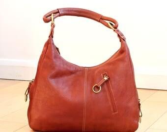 Dark Tan Leather Hobo bag, Brown Leather Handbag, Brown Hobo Leather Bag, Reddish Brown Leather Bag, Ladies Handbag, Shoulder Bag