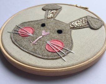 "Bunny Rabbit Glitter Embroidery Hoop, 6"" Embroidery Hoop, Nursery Decor, Wall Hanging"
