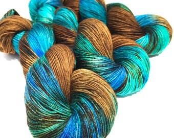 Cripple Creek- Hand dyed yarn, sock weight, Superwash Merino, 463 yards, speckled yarn