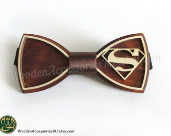 Wood bow tie Man of Steel S-man, wooden unisex accessory for comics fans
