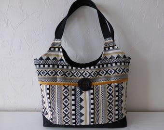 Handbag, women, worn hand, shoulder, fabrics jacquard ethnic made hand