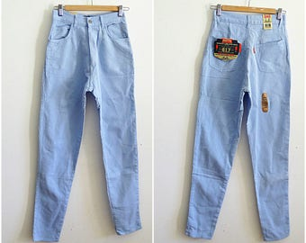 Pontiac high waisted pants W28 90s mom jeans cigarette leg pants light blue deadstock jeans new with tags attached vintage 1990s size S