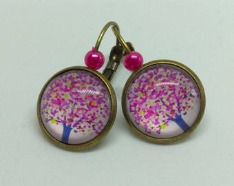 tree of life pink and purple cabochon earrings