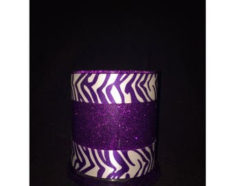 Personalized Zebra purple glitter holder