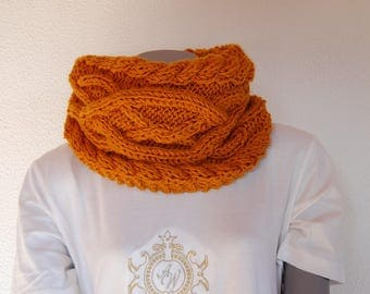 Snood handknitted with caramel colored cables