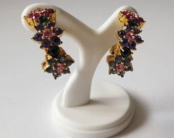 Vintage Joan Rivers Rhinestone Clip Earrings, Colored Crystal Earrings, Floral Hoop Earrings, Signed Joan Rivers