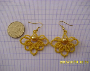 beautiful tatted yellow lace earrings