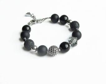 Black bracelet, men women bracelet, gemstone bracelet,  agate lava Swarovski crystal  pave crystal bracelet, adjustable bracelet