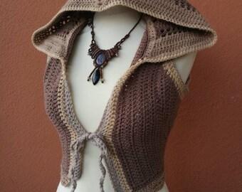Woolen earthy fairie vest with large hood xs-m
