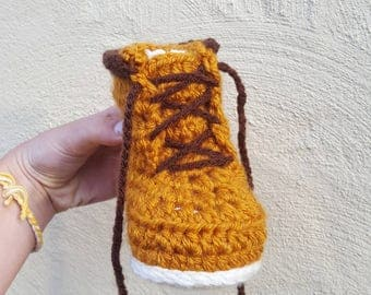 Toddler crochet Timberland style socks.