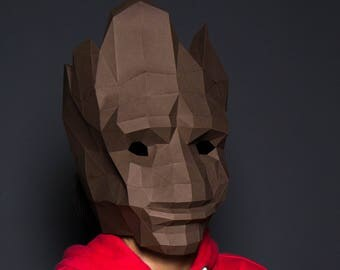 Groot Mask, Groot baby Mask, Groot lowpoly, Guardians of the Galaxy, DIY New Year Mask, 3D Polygon Masks, Printable Mask,Halloween Mask