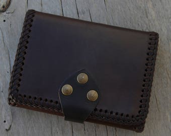Leather handmade wallet.Authentic leather wallet.Exclusive work.Unic piece.Original leather wallet.Big wallet.