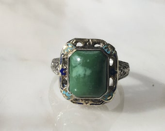 Victorian 14K Gold Filigree with Enamel and Turquoise Ring