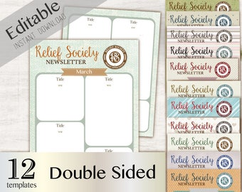 Newsletter Relief Society, Editable PDF,  Double Sided, Newsletters Download Instant, Newsletter Relief Society, Newsletter Template