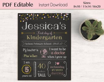 First/Last Day of School Sign Chalkboard Print, pink gold star, Editable Text, DIY, Chalkboard Sign, Kindergarten, Stars, INSTANT DOWNLOAD