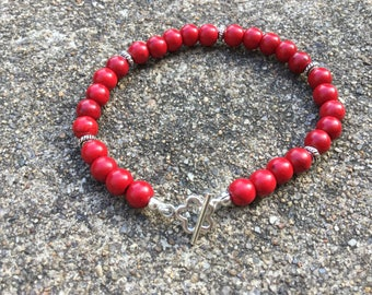 Bracelet Beaded Red Beads Silver Plated Beads Sterling Silver Toggle Clasp