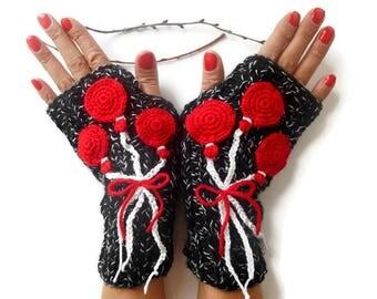 Black Knitted Gloves, Hand Knitted Gloves, Crochet Fingerless Gloves, Knitted Arm Warmer, Fingerless crochet gloves, Valentine's Day