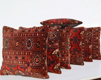 vintage pillows turkoman old carpet rug pillow cases handmade seven rug pillow covers area rug SET 1049