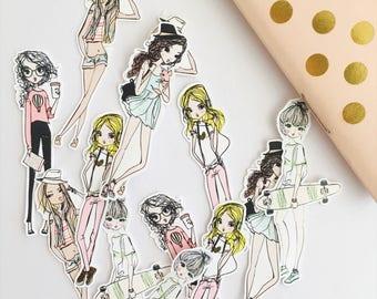 20 Fashion girl sticker flakes