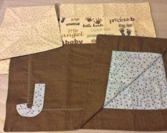"""Two Flannel Baby Lovies Personalized with """"J"""""""