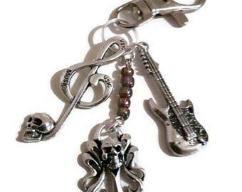 Music, Rock, Heavy, Key Ring, Skull, Retro, Gift, Him, Her, Guitar, Musician, Guitarist, Goth, Punk, Skull, Rocker, Charms, Affordable, Play