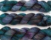 subterranean hand dyed yarn sock yarn speckled yarn fingering yarn merino wool 4ply sock dark green blue 100g