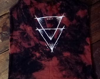 Hand dyed hand painted acid dye triangle strap top size S-M