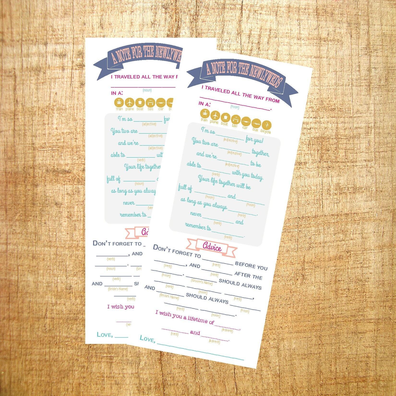 Printable Wedding Mad Libs / Alternative Guest Book / Wedding ...