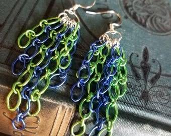 Seattle Seahawks inspired Chain Earrings, Team Color Earrings, Chain Earrings, Seattle Seahawks Earrings, Football Earrings