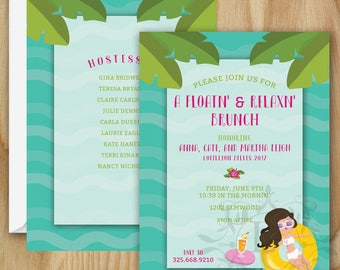 Pool Party Invitation. Summer. Pool Party. Swim. Invitation. Blue. Green. Pink