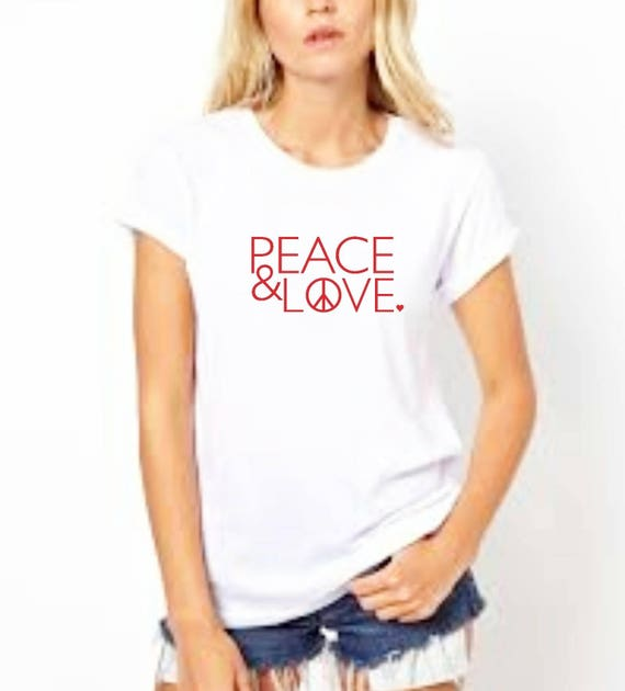 PEACE & LOVE Tee, Peace Tee, Love Tee, Peace and Love, Valentine's Day Tshirts, Heart Shirts, Peace and Love, Love Tshirts