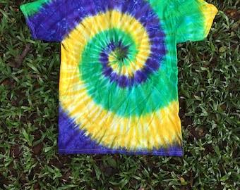 Mardi Gras Swirl Tie Dye Tshirt
