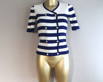 Vintage 1960s stripy knitted top nautical style size 10uk