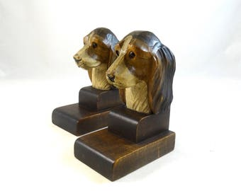 Rare antique handcarved wooden art deco dogs bookends with glass eyes