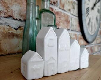 Set of 5 Tiny Ceramic Houses