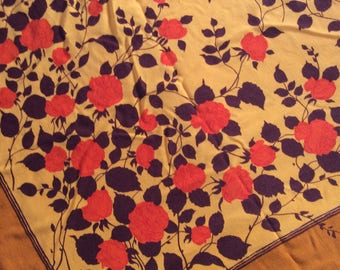 Vintage Floral Fabric - Orange and Red Rose Fabric - Over 1m x 1m - Dressmaking Fabric - Craft Fabric