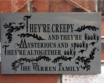 Halloween sign - Halloween Decorations - Personalized Family - The Addams Adams Family Sign - wood sign - funny